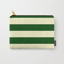 Dark Emerald Green and Cream Large Stripes Carry-All Pouch