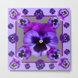 LILAC PURPLE PANSIES GARDEN Metal Print