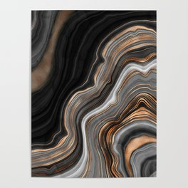 Elegant black marble with gold and copper veins Poster