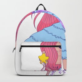 Cute anime ballerina with pink hair in tutu holding in her hands star. Cartoon character. Backpack