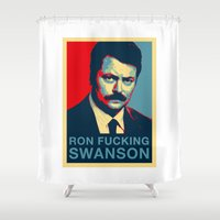 swanson Shower Curtains featuring Ron F***ing Swanson by Søren Schrøder