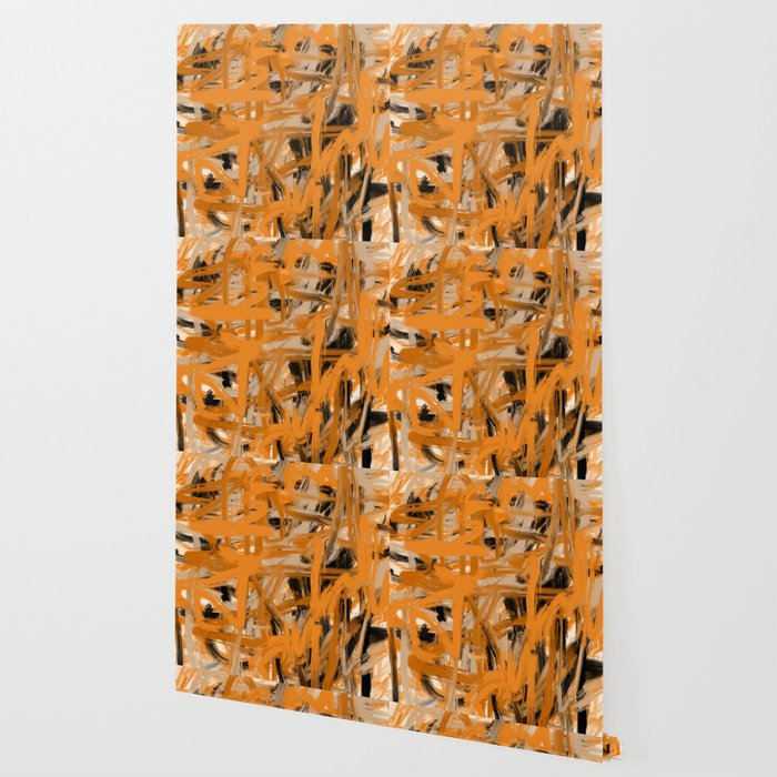 Orange & Taupe Abstract Wallpaper