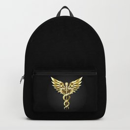 Gold Polygonal Symbol Caduceus Backpack
