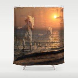 Sea Horses, Soul Mates, Running Horses, Spirits of the Sea Shower Curtain