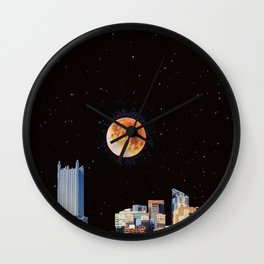 Blood Moon Over Pittsburgh Pennsylvania Skyline Wall Clock