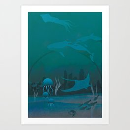 THE DOME - Fantasy | Animals | underwater | Ocean | Sci-fi | Whales | Ocean  Art Print