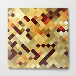 Cool Autumn Season Colors Round Squares Pattern Metal Print