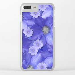 Violet Blue x Blossoms Clear iPhone Case