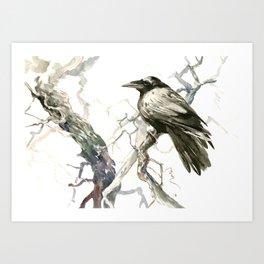Raven on the Tree, raven desidn crow lover Art Print
