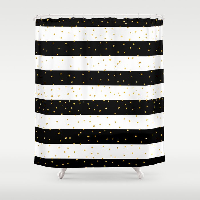 Black White Gold Faux Glitter Stripes Polka Dots Shower Curtain