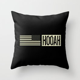 Hooah (Black Flag) Throw Pillow