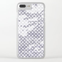 Lilac-gray polka dots with texture Clear iPhone Case
