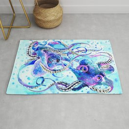 Octopus, Turquoise Blue aquatic Beach design Rug