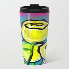 Colorful Yellow Rose Flowers with Purple Blue and Green Travel Mug