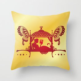 Bridal Palanquin India.doli silhouette Throw Pillow