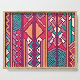 Tribal ethnic geometric pattern 001 Serving Tray
