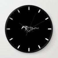 mustang Wall Clocks featuring Mustang black by JT Digital Art