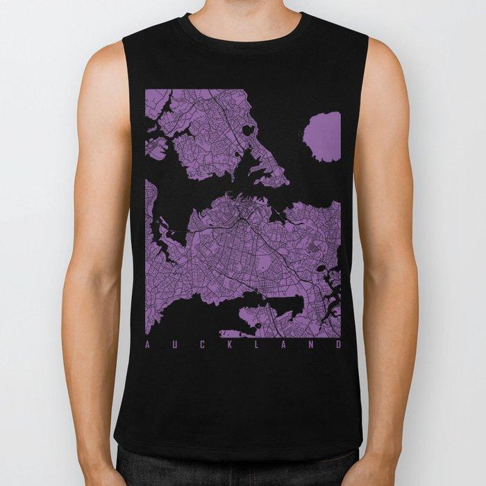 Auckland map lilac Biker Tank