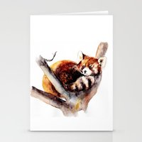 red panda Stationery Cards featuring Red Panda by Anna Shell