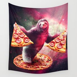 Funny Space Sloth With Pizza Wall Tapestry