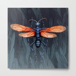 Wasp in the leaves Metal Print