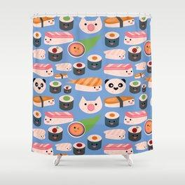 Kawaii sushi blue Shower Curtain