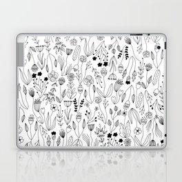 Linear Floral Doodle Pattern Laptop & iPad Skin