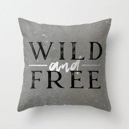 Wild and Free Silver Concrete Throw Pillow