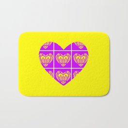 Purple and Yellow Patterns and a Heart Bath Mat