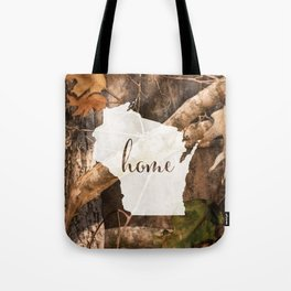 Wisconsin is Home - Camo Tote Bag