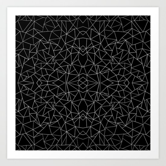 Abstract Collide Outline White on Black Art Print