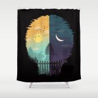 magritte Shower Curtains featuring Embrace Life by dan elijah g. fajardo
