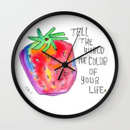 Watercolor Painting Food Illustration Nursery Art - Color of Your Life Wall Clock