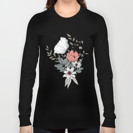 Seamless pattern design with hand drawn flowers and floral elements Long Sleeve T-shirt