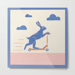 Scooter Rabbit Metal Print