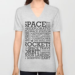 Space Text inspirational poster. Unisex V-Neck