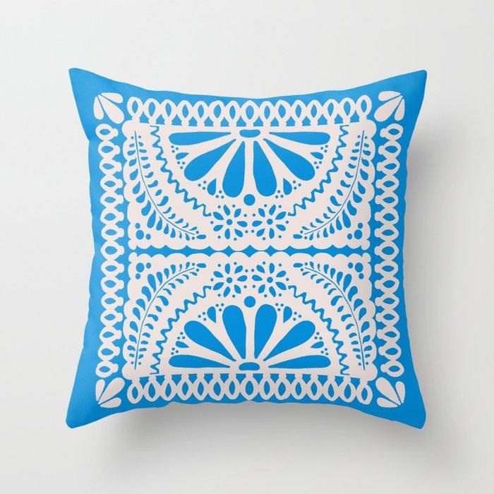 Fiesta de Flores in Party Blue Throw Pillow