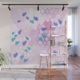Pink Honey Comb Wall Mural