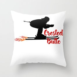 Ski speeding at Crested Butte Throw Pillow