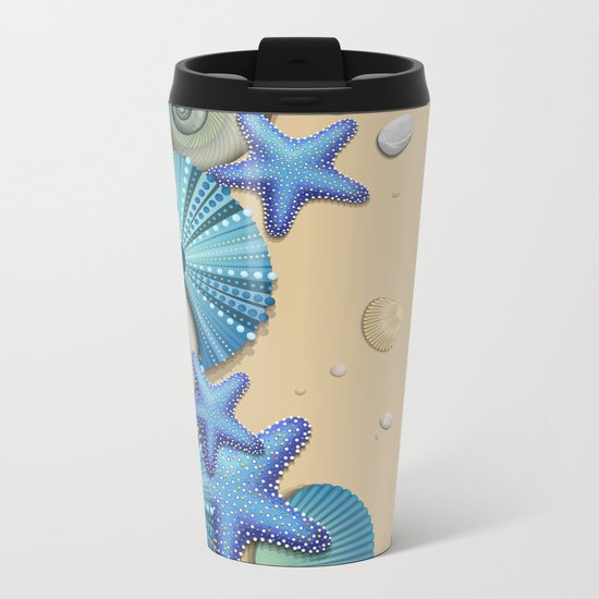 SEA SHELLS ON THE BEACH Metal Travel Mug
