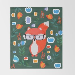 Fox with glasses and flowers Throw Blanket