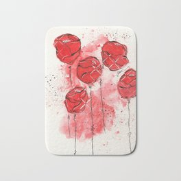 Crimson and Cream Splotch Floral Bath Mat