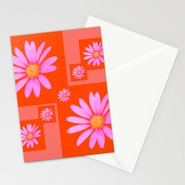 Cheerful Pink Cape Daisy patchwork Stationery Cards