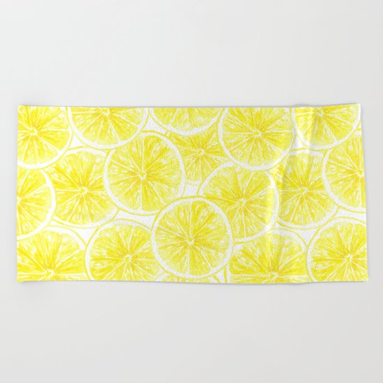 Lemon slices pattern watercolor Beach Towel