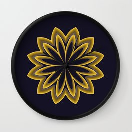 Abstract Flower in Gold Wall Clock