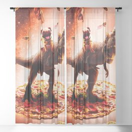Outer Space Pug Riding Dinosaur Unicorn - Pizza Sheer Curtain