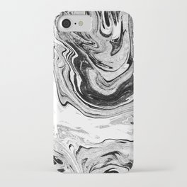 Masuki - black and white minimal spilled ink marbled paper marble texture marbling marble painting iPhone Case