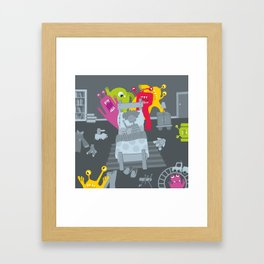 kid and ghosts Framed Art Print