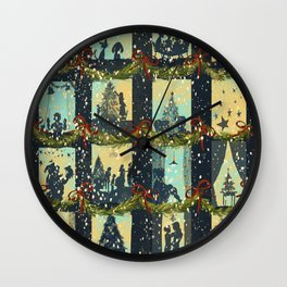 Christmas in the Windows Blue Wall Clock