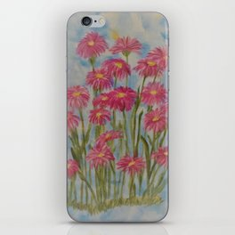 Asters Acrylic Floral Painting by Rosie Foshee for wall decor, and to share by stationary & stickers iPhone Skin